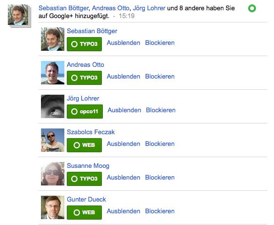 Google+ Anzeige von Kontakten, die einen hinzugefügt haben