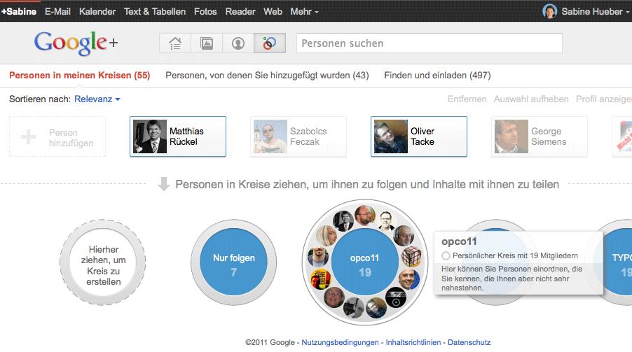 Google+ Oberfläche mit Circles