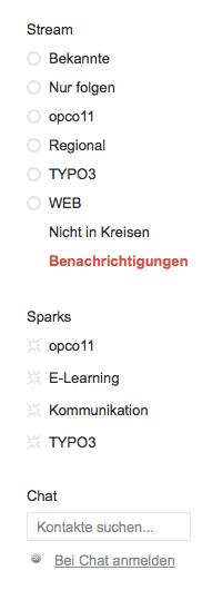 Navigation von Google+