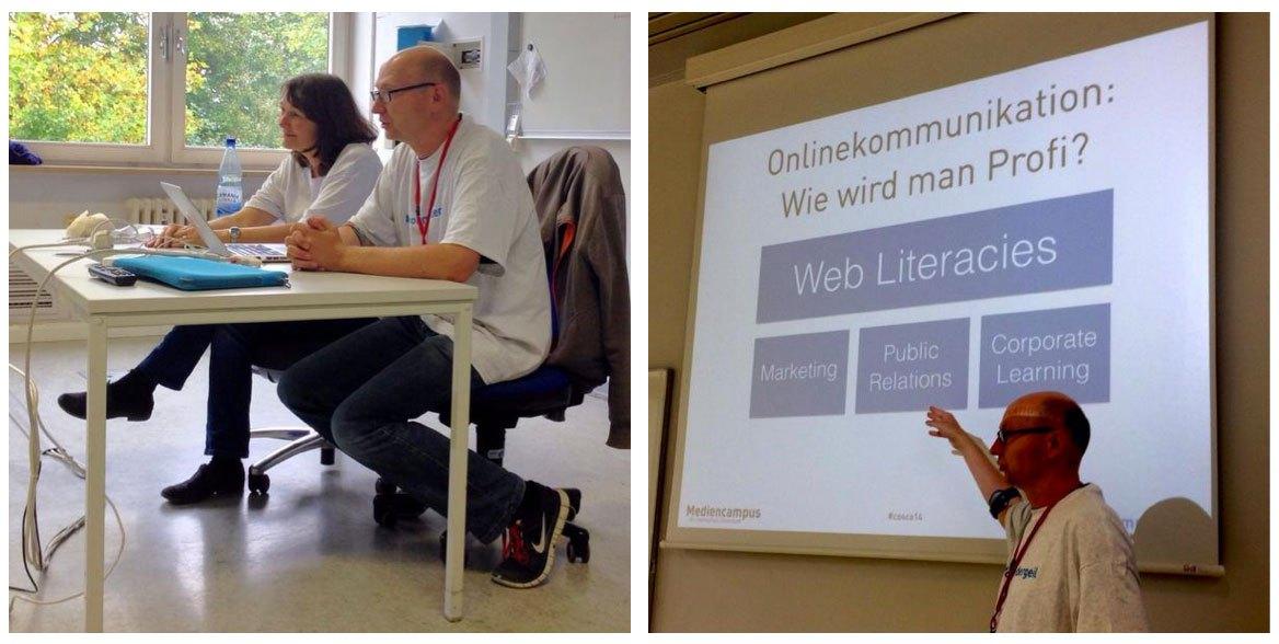 Thomas Pleil stellt den Studiengang Onlinekommunikation auf mehreren Barcamps vor, Sabine Hueber das Onkommcamp, um die Stimmigkeit des Konzeptes zu überprüfen.